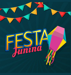 festa junina flag lantern dark blue background vec vector image