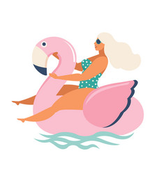 flamingo unicorn swan inflatable swimming pool vector image