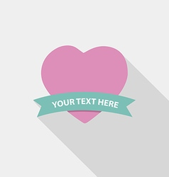 Flat Design heart Long shadow and ribbon vector image