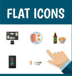 flat icon lifestyle set of bureau beer with chips vector image