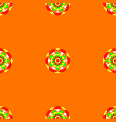 flower mandala seamless pattern orange vector image