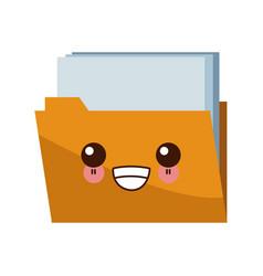 folder document symbol kawaii cute cartoon vector image