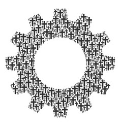 Gearwheel mosaic of religious cross icons vector