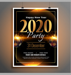 glowing black and gold new year party flyer vector image