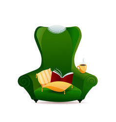 green vintage sofa armchair with gold pillow vector image