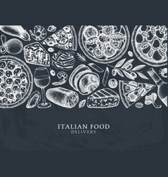 hand drawn pizza pasta ravioli and ingredients vector image