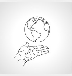hand holding earth palm hold globe vector image