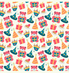 happy birthday pattern with bear in vector image