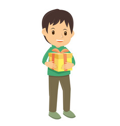 happy little boy received his christmas gift vector image