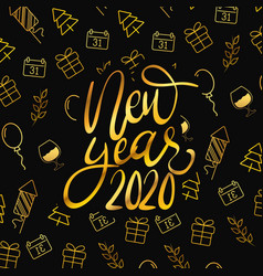 Happy new year golden lettering with gifts vector