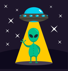 hello from alien concept background flat style vector image