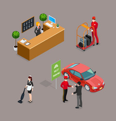 Hotel service isometric icons set vector