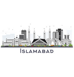 Islamabad pakistan city skyline with gray vector