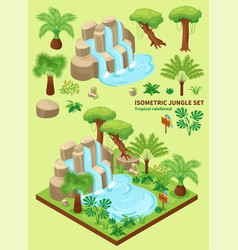 isometric jungle elements collection vector image