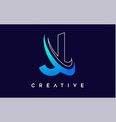 Letter j logo j letter design with blue swash vector