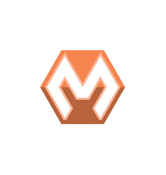 letter m hexagon logo vector image