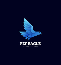 Logo flying eagle gradient colorful style vector