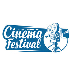 logo for cinema festival with old movie camera vector image