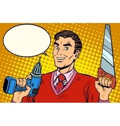 man saw drill tool vector image