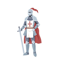 Medieval knight in armor red cape and helmet vector