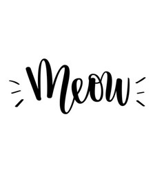 Meow kitten cat love lettering vector