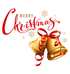 merry christmas calligraphy text golden bell with vector image