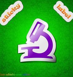 Microscope icon sign Symbol chic colored sticky vector