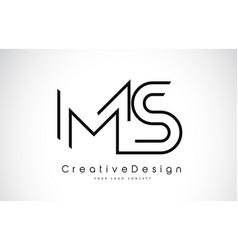 Ms m s letter logo design in black colors vector