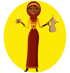 Muslim woman holding an arabic coffee pot vector
