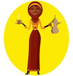 Muslim woman holding an arabic coffee pot vector