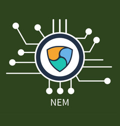 Nem cryptocurrency poster vector