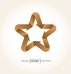 Origami star with arrows from old paper vector