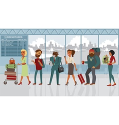 people in airport with luggage vector image