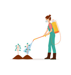 Person spraying chemical pesticide on plants vector