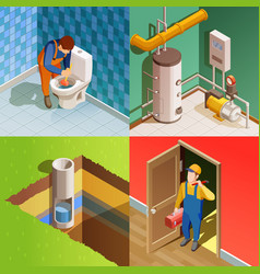 plumber 4 colorful isometric icons square vector image