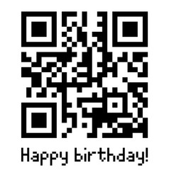 qr code sample with text happy birthday vector image