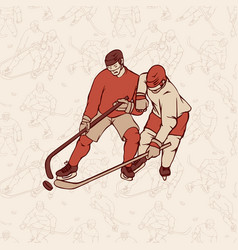 Retro hockey player and seamless pattern vector