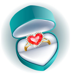 Ring in gift box vector