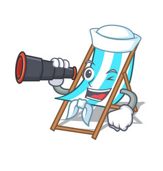Sailor with binocular beach chair mascot cartoon vector