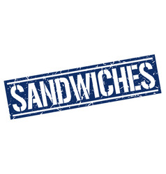 Sandwiches square grunge stamp vector