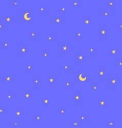 seamless pattern with stars and moon good night vector image
