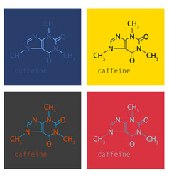Set caffeine molecule chemical structure vector