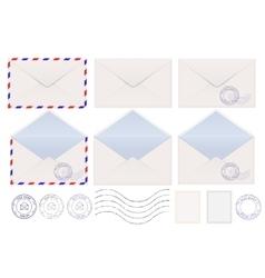 Set envelopes blank stamped airmail vector