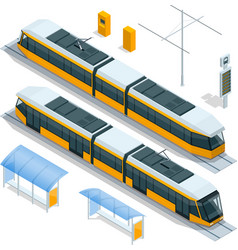 Set isometric passenger tram train streetcar vector