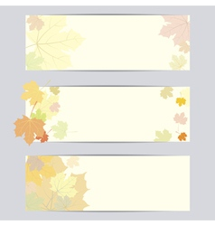 Set of banner with autumn leaves vector