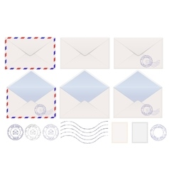 Set of envelopes Blank stamped airmail vector