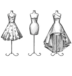 Set of mannequins in dresses vector