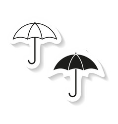 set of umbrella sticker icon vector image