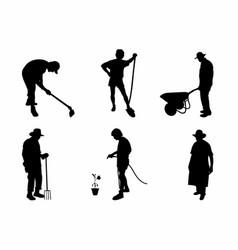 Shadow of six gardeners vector