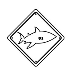 shark silhouette alert icon vector image